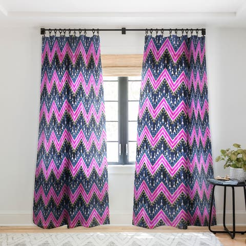 Schatzi Brown Pena Chevron Navy Single Panel Sheer Curtain - 50 x 84