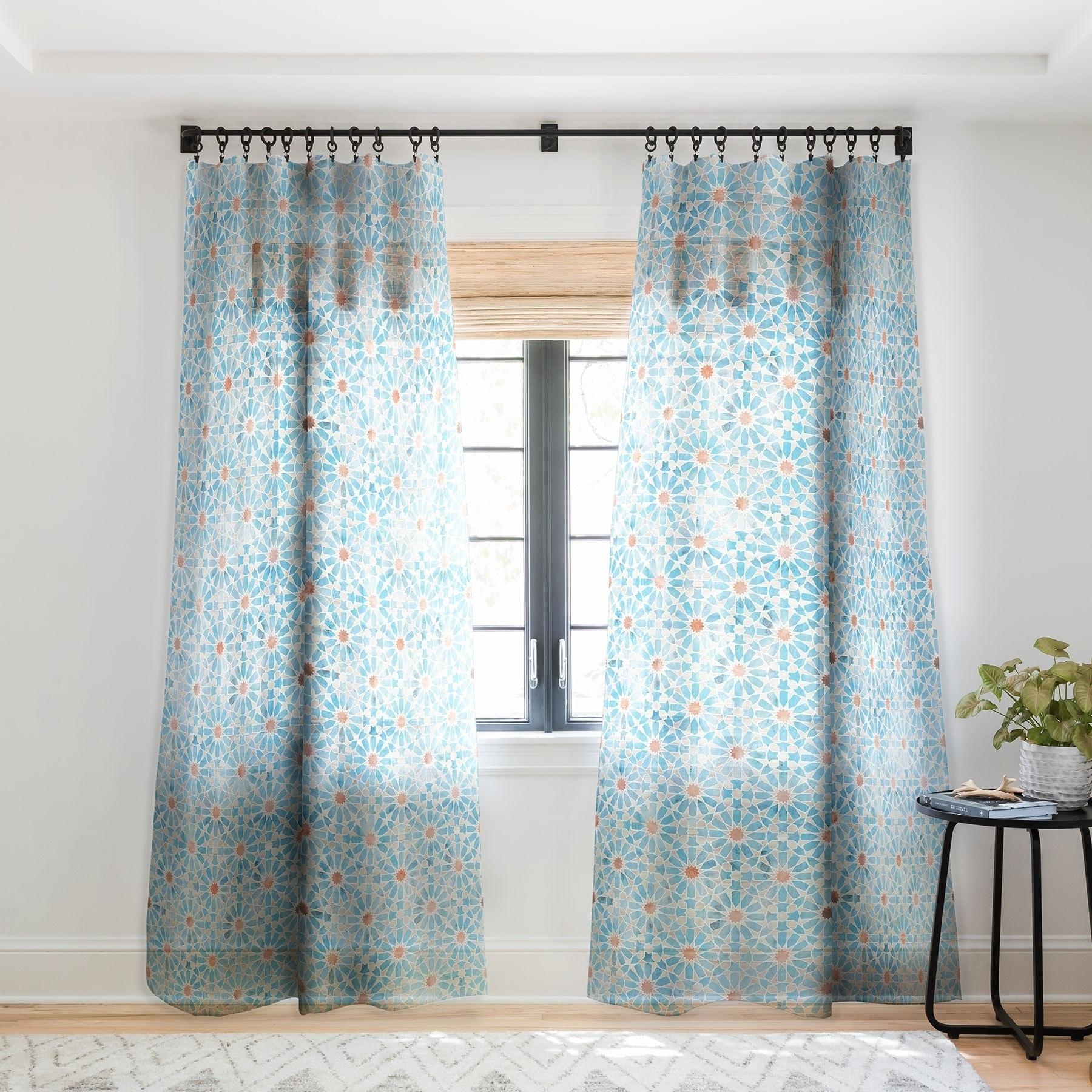 Schatzi Brown Hara Tiles Light Blue Single Panel Sheer Curtain 50 X 84 On Sale Overstock 22043077