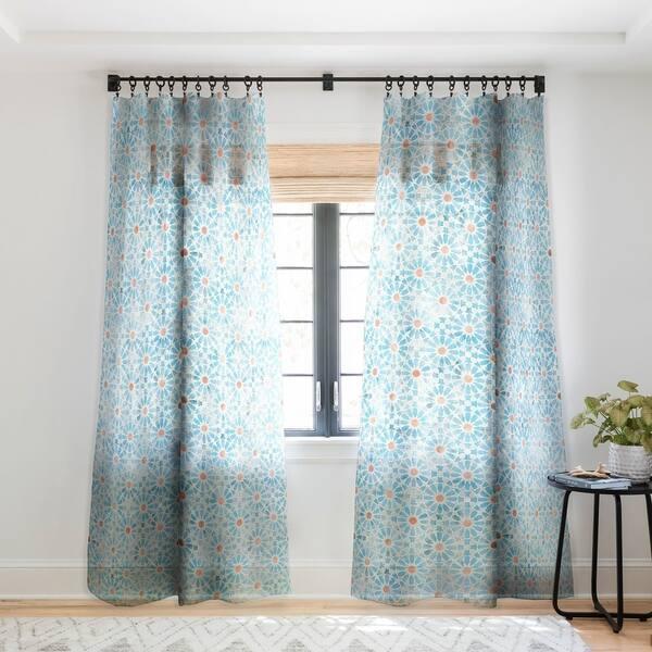 Schatzi Brown Hara Tiles Light Blue Single Panel Sheer Curtain 50 X 84