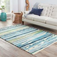 Doppler Indoor/ Outdoor Abstract Blue/ Green Area Rug - 10' x 14'