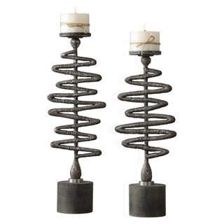 Uttermost Zigzag Antiqued Silver Candleholders (Set of 2)