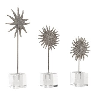Uttermost Sunflower Starfish Antique Silver Sculptures (Set of 3)