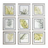 Uttermost Verdant Impressions Leaf Prints (Set of 9) - Green/White