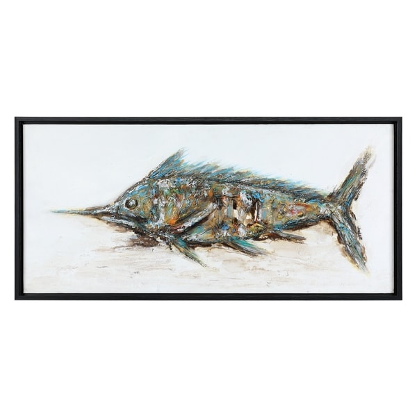 Uttermost Blue Marlin Hand Painted Art - Green/Multi-color