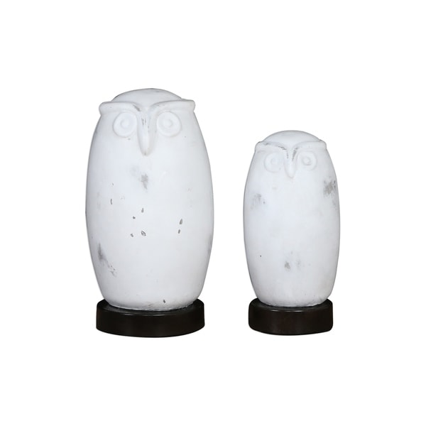 Uttermost Hoot Distressed Aged White Figurine (Set of 2)
