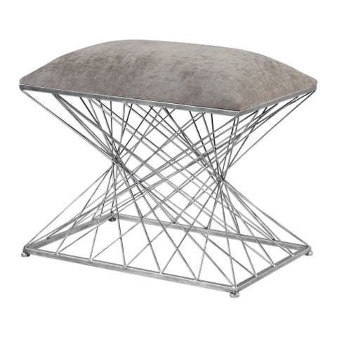 Uttermost Zelia Burnished Silver Accent Stool