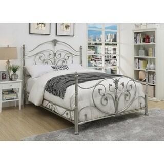 Evita Silver Metal Scrollwork Bed