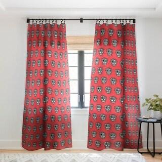 Andi Bird Sugar Skull Fun Red Single Panel Sheer Curtain