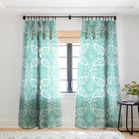 Heather Dutton Plush Paisley SeaSpray Single Panel Sheer Curtain - 50 x 84