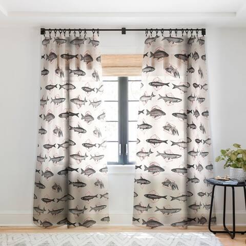 Florent Bodart Fishes In Geometrics Single Panel Sheer Curtain - 50 x 84