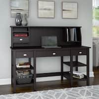 Copper Grove Rustavi 60W Desk with Storage Shelves and Small Hutch Organizer in Espresso Oak