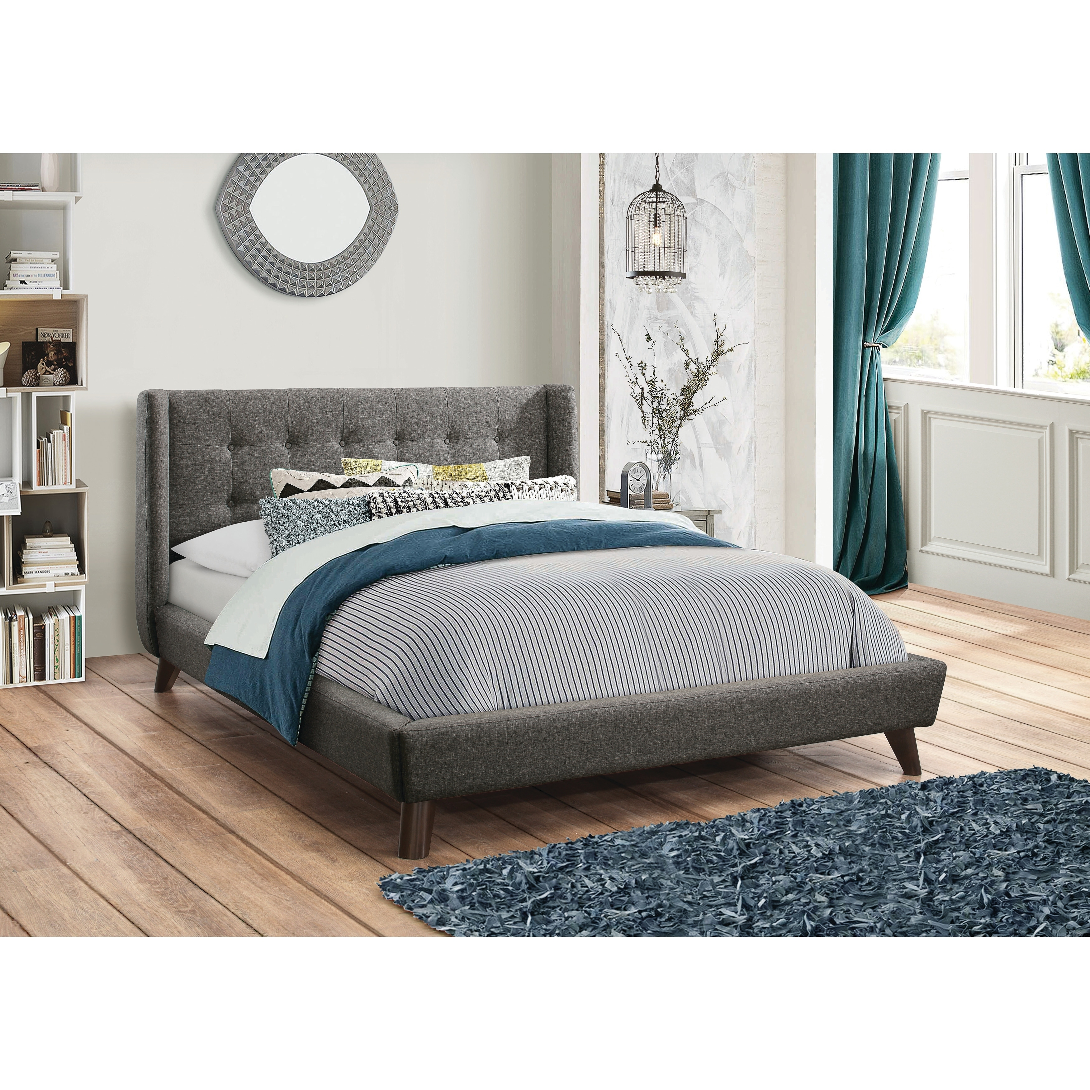 Carrington Grey Upholstered Bed Overstock 22043513