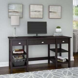 Copper Grove Rustavi 60-inch Espresso Oak Desk with Storage Shelves and Drawers