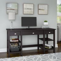 Broadview 60W Desk with Storage Shelves and Drawers in Espresso Oak