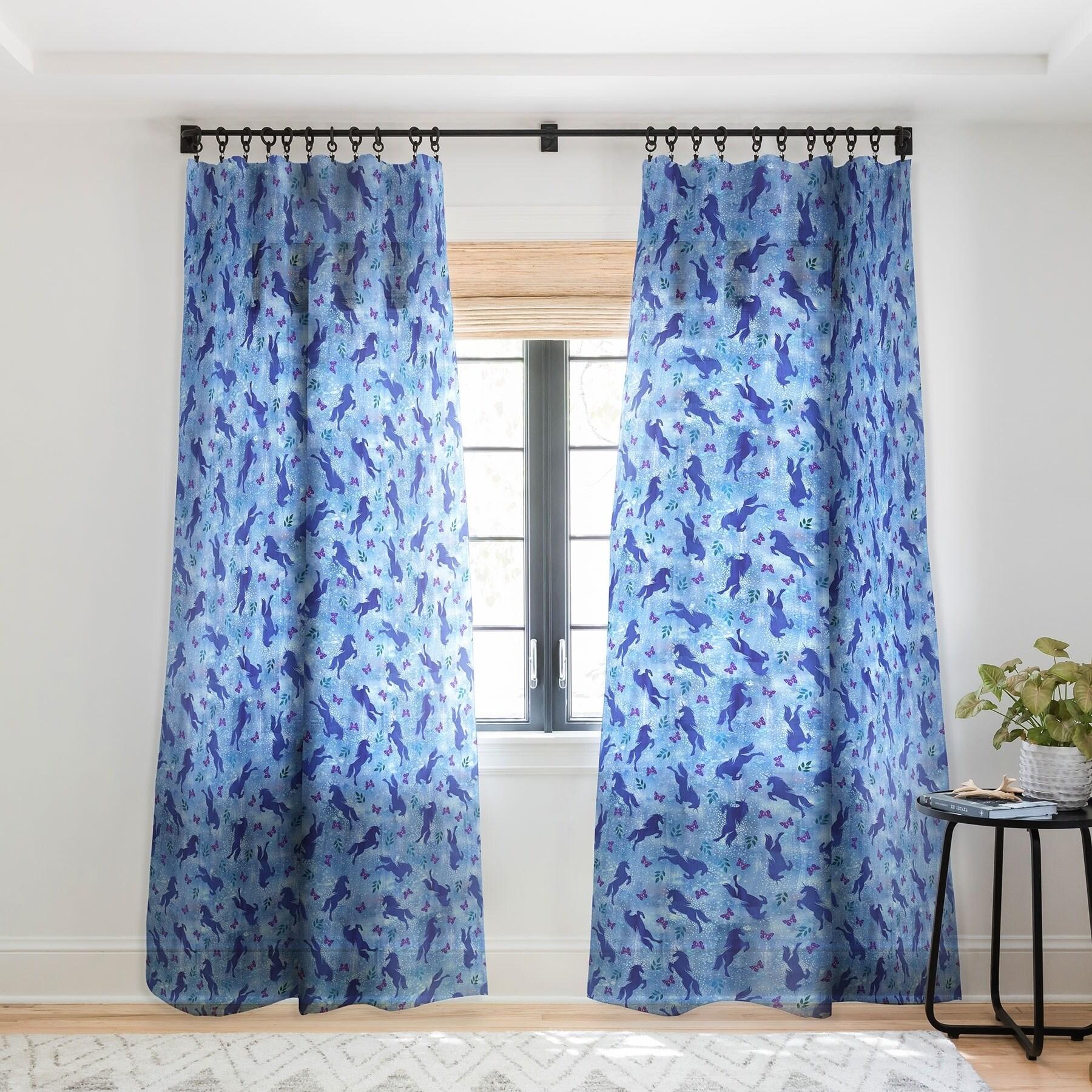 Schatzi Brown Unicorn Toss Light Blue Single Panel Sheer Curtain 50 X 84 On Sale Overstock 22043602
