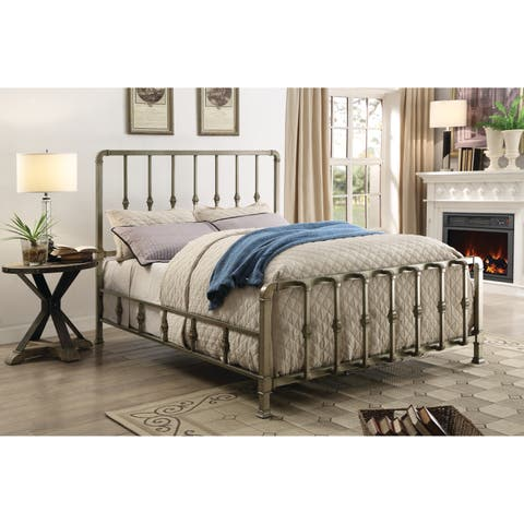 Micah Champagne Metal Bed with Mold-casted Ornaments