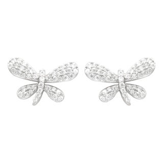 """Antwerp Silver """"Dragonfly"""" Earrings with Cubic Zirconia"""