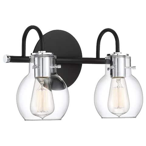 Copper Grove Hakauata Black 2-light Bath Light with Clear Shades