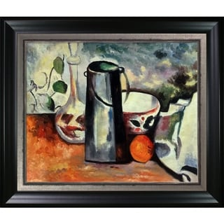 """La Pastiche Water Pitcher and Decanteur with Black Matte and Burnished Silver Framed Oil Painting, 30.5"""" x 26.5"""""""