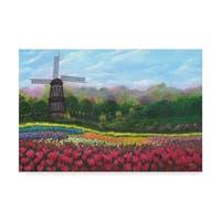 Bonnie B Cook 'Windmill In Tulip Garden' Canvas Art