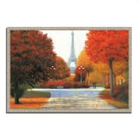 """Autumn in Paris Couple"" by James Wiens, Fine Art Giclee Print on Gallery Wrap Canvas, Ready to Hang"