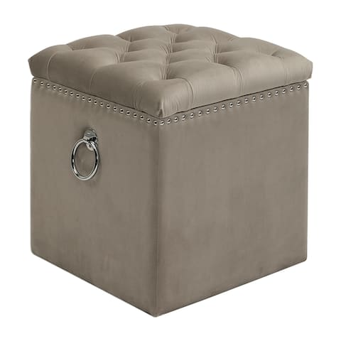 Uttermost Talullah Champagne Tufted Storage Ottoman