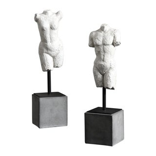 Uttermost Valini Aged White Sculptures (Set of 2)