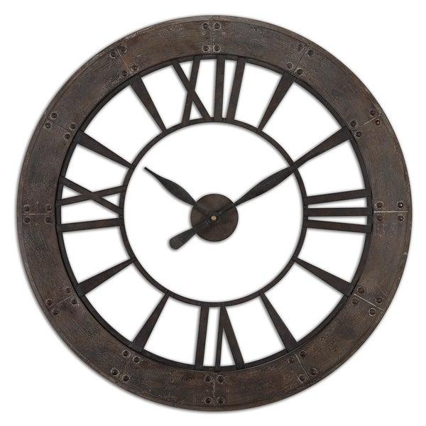 Uttermost Ronan Rustic Bronze Wall Clock. Opens flyout.