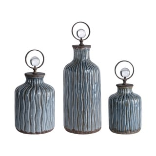 Uttermost Mathias Grey-blue Vessels (Set of 3)