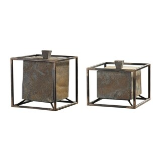 Uttermost Slate Natural Cube Boxes (Set of 2)