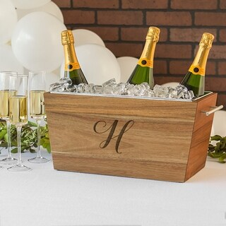 Personalized Wedding Acacia Beverage Trough