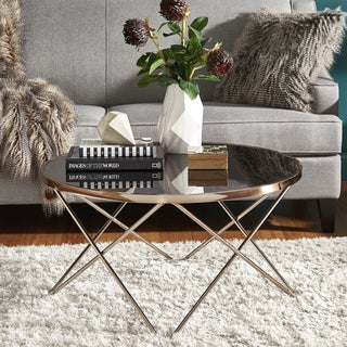 Gabe Champagne Gold Finish Hairpin Leg Accent Tables with Black Glass Top by iNSPIRE Q Bold