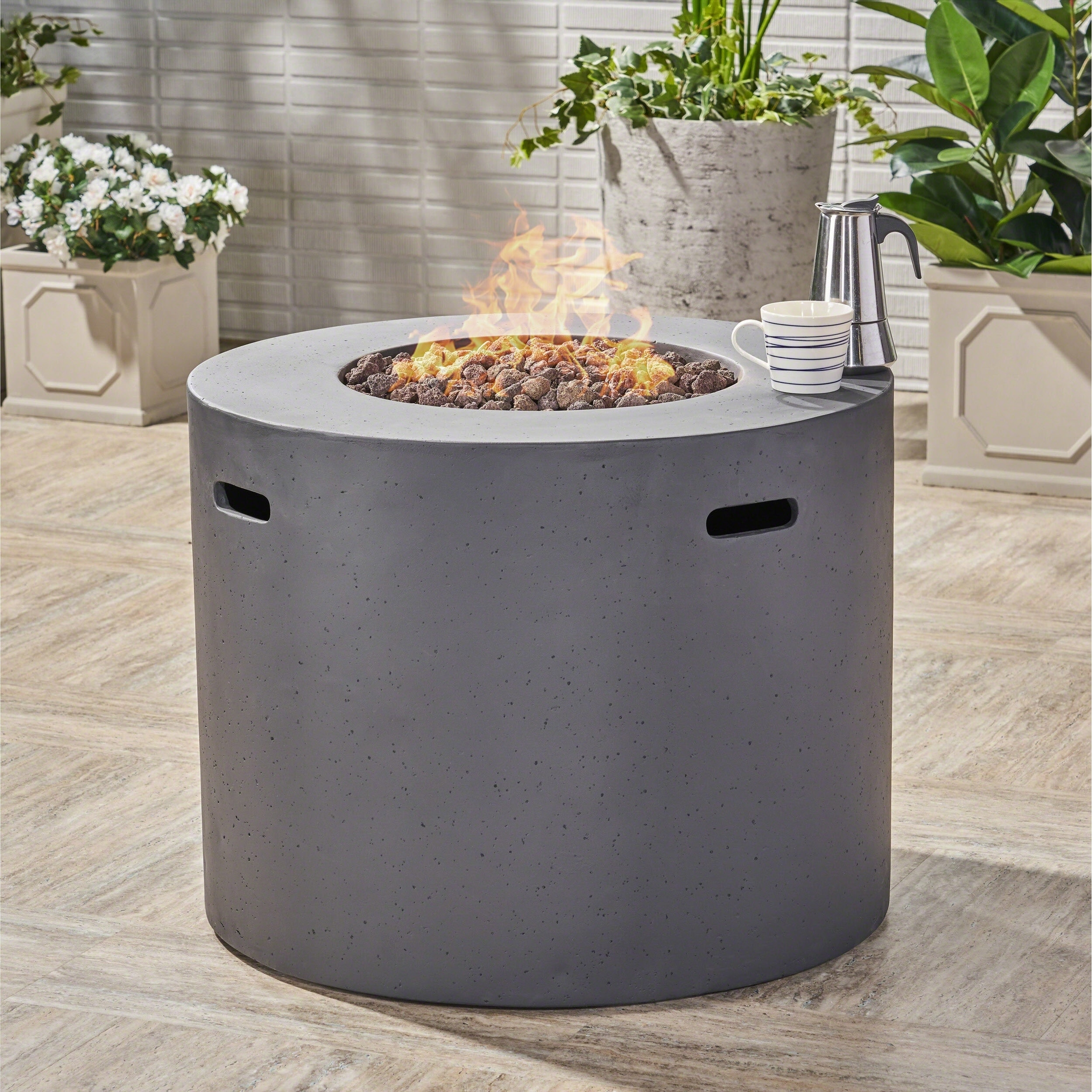 Outdoor Propane Fire Pit.Aidan Outdoor 31 Inch Circular Propane Fire Pit Table W Tank Holder By Christopher Knight Home N A