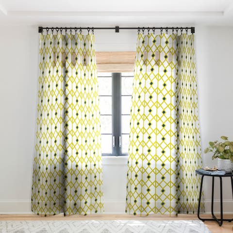 Heather Dutton Annika Diamond Citron Single Panel Sheer Curtain - 50 x 84