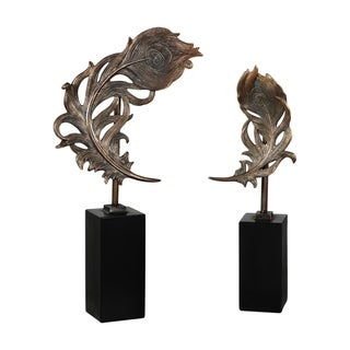 Uttermost Quill Feathers Bronze Patina Sculptures (Set of 2)