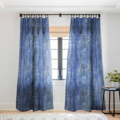 Schatzi Brown Drawn Diamond Denim Single Panel Sheer Curtain - 50 x 84