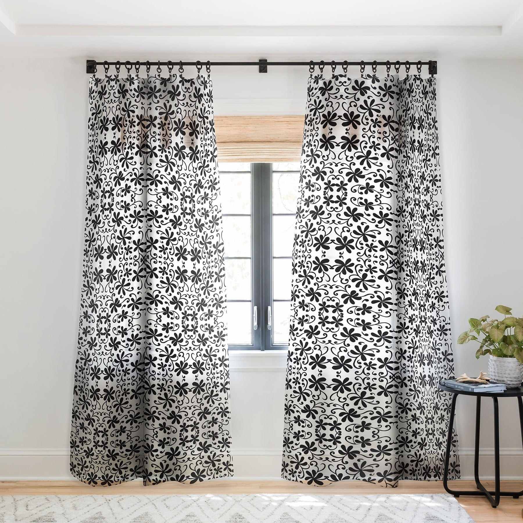 Rosie Brown Black On White Single Panel Sheer Curtain 50 X 84 On Sale Overstock 22044470