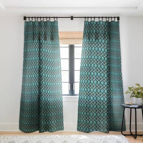 Schatzi Brown Boho Diamonds Green Single Panel Sheer Curtain - 50 x 84