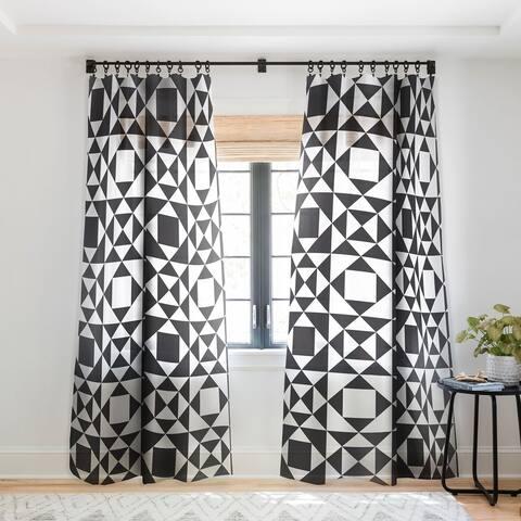 Heather Dutton Rhythm Black Single Panel Sheer Curtain - 50 x 84