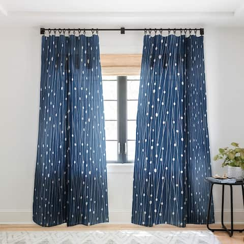 Heather Dutton Navy Entangled Single Panel Sheer Curtain - 50 x 84