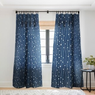 Heather Dutton Navy Entangled Single Panel Sheer Curtain