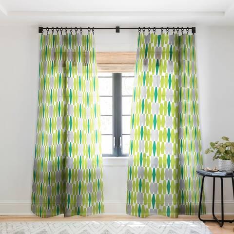 Heather Dutton Abacus Emerald Single Panel Sheer Curtain - 50 x 84