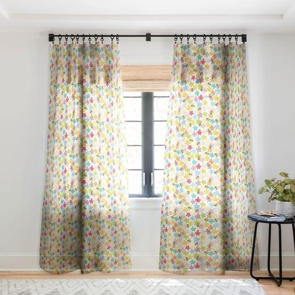Sharon Turner Indian Summer Flowers Bees Single Panel Sheer Curtain 50 X 84