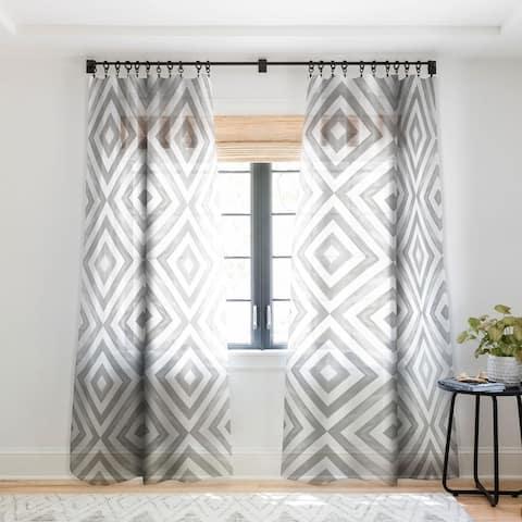 Little Arrow Design Co Watercolor Diamonds in Grey Single Panel Sheer Curtain - 50 x 84