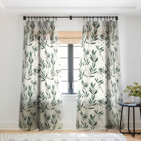 Holli Zollinger Olive Bloom Single Panel Sheer Curtain - 50 X 84