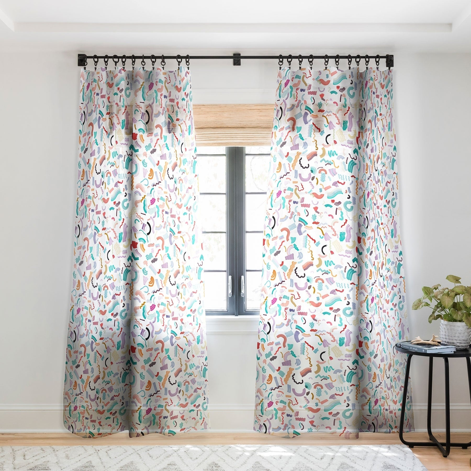 Ninola Design Curly And Zigzag Stripes Marker Drawing Single Panel Sheer Curtain 50 X 84 On Sale Overstock 22044574