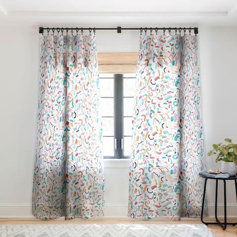 Ninola Design Curly and Zigzag stripes Marker drawing Single Panel Sheer Curtain - 50 X 84