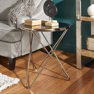 Gabe Champagne Gold Finish Hairpin Leg End Table with Black Glass Top by iNSPIRE Q Bold