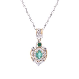 Michael Valitutti Palladium Silver Zambian Emerald and White Topaz Pendant w/ Chain - Green