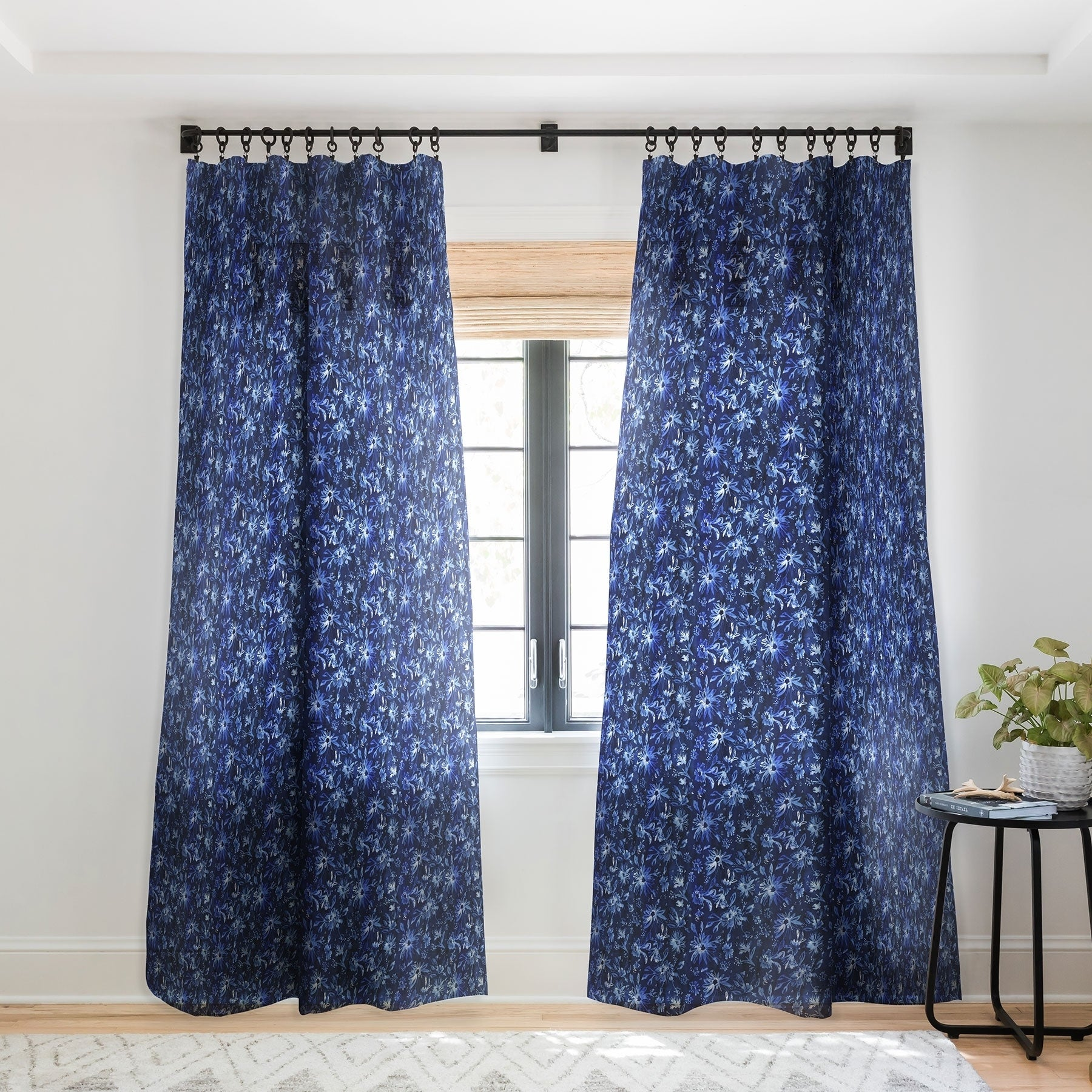 Schatzi Brown Lovely Floral Dark Blue Single Panel Sheer Curtain 50 X 84 On Sale Overstock 22044660